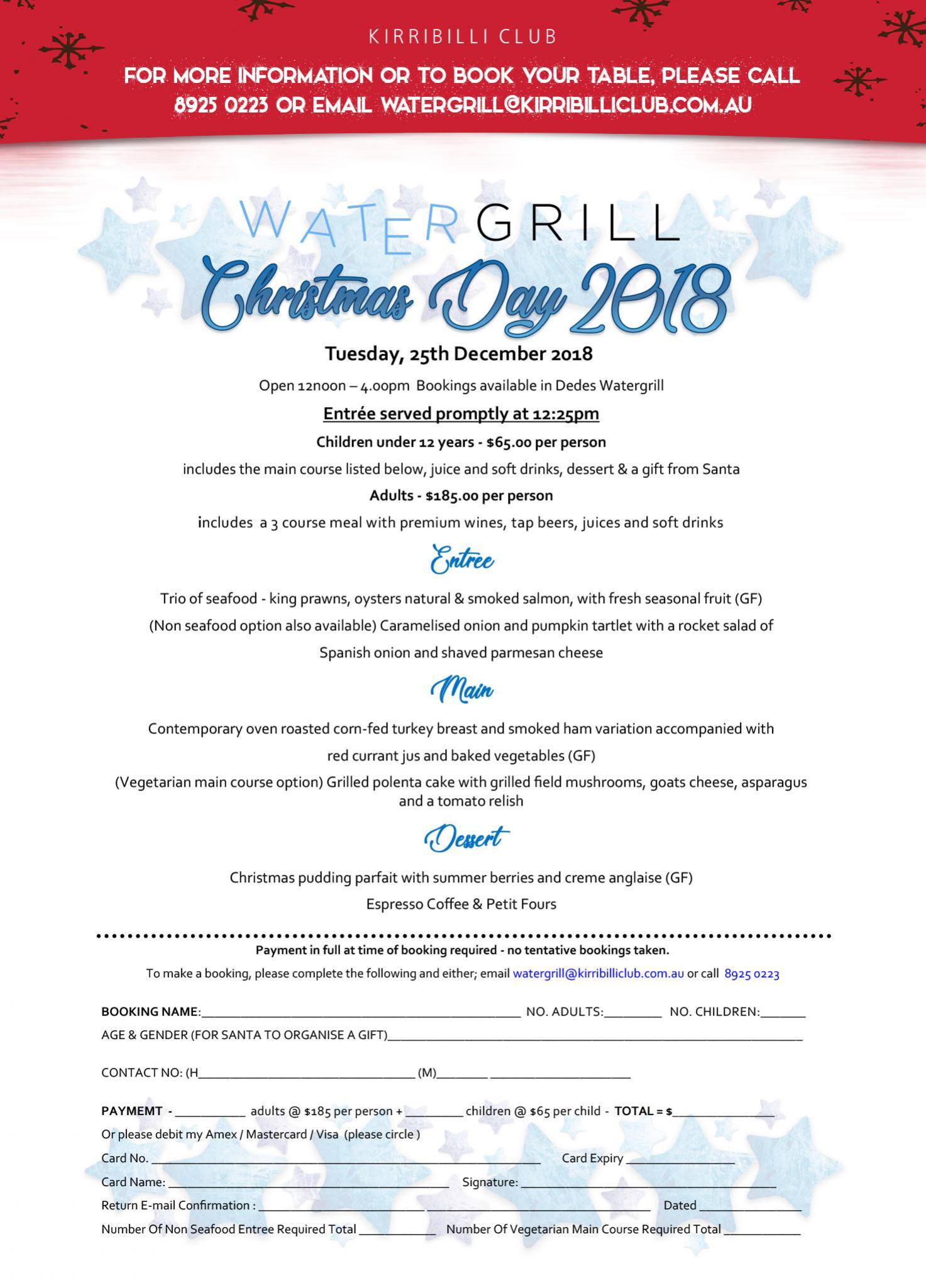Watergrill Restaurant | Kirribilli Club